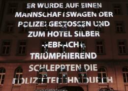 Lange Nacht der Museen Stuttgart - Hotel Silber Projektion aussen